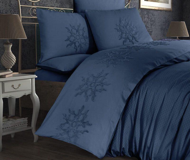 Lenjerie de pat albastra bumbac satinat