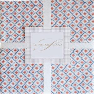 Cuvertura bumbac pat dublu Diamond caramiziu-alb, 200x220 cm