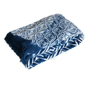 Cuvertura pentru pat Ethnic, bumbac, albastru-alb, 200x220 cm