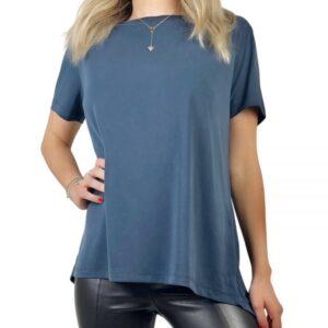 Tricou albastru super soft casual din modal